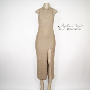 Topshop Gold Knitted Maxi Dress with Slit On Left